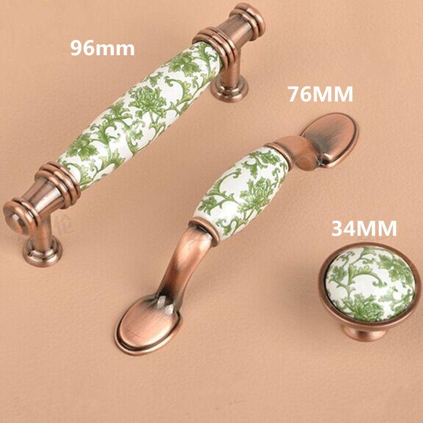 96mm Europa Stil weiß und grün Porzellan Möbel Griff rot Bronze Schrank Schublade Pull Knopf Antik Kupfer Kommode Griff