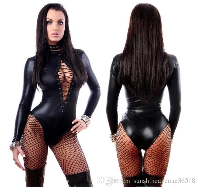 Kadın Tulum Siyah Seksi Deri Elbise Uzun Kollu Bodysuits Erotik Leotard Lateks Catsuit Kostüm stokta dongguan_wholesale