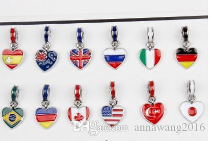 يناسب باندورا فضة سوار 13 نمط الأعلام الوطنية المينا قلادة الخرز سحر ل ثعبان الأوروبي سحر سلسلة الأزياء diy مجوهرات
