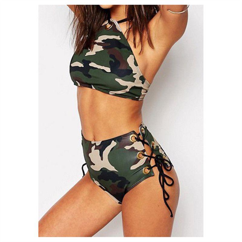 New Alta Mulheres Cintura Biquíni Swimsuit Sexy Impressão de Camuflagem Swimwear Elegante Praia Verão Biquíni Set Maiôs