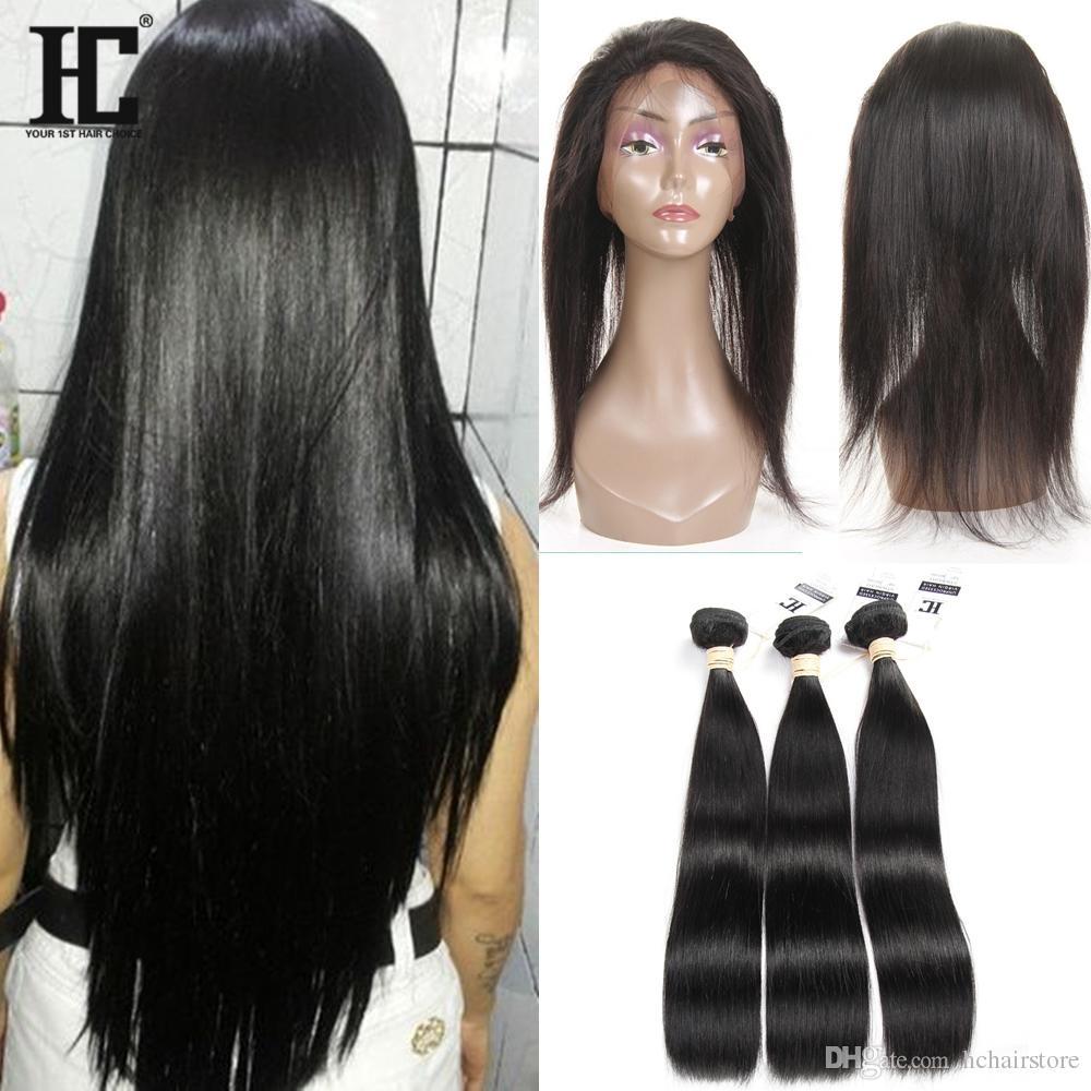 HC Brasilianisches Haar 3 Bundles mit 360 Spitze Frontal mit Bundles Per Gezupft 360 Spitze Frontal mit Baby Haar Brasilianisches Unverarbeitetes Reines Haar