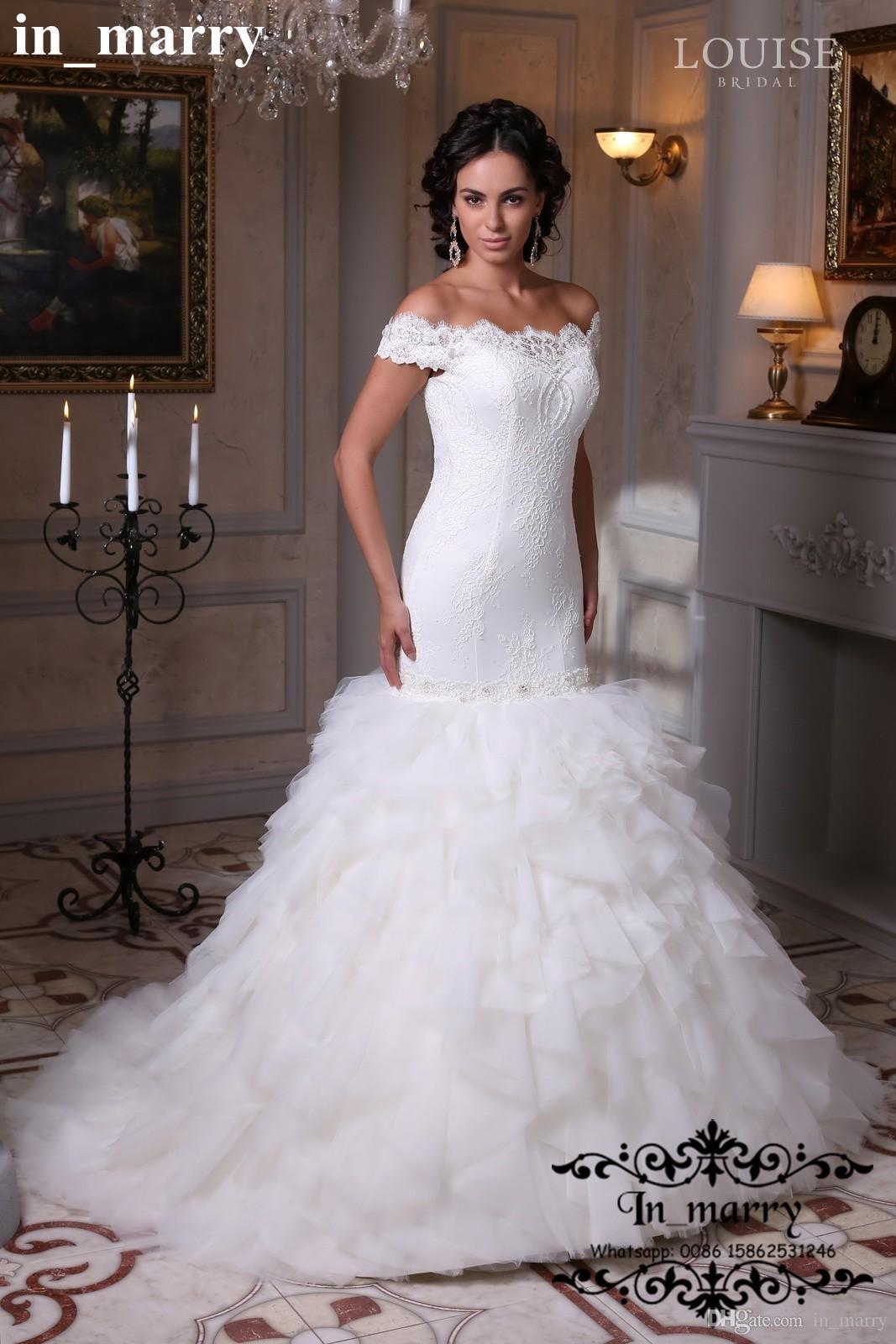 Cascading Ruffles Plus Size Lace Wedding Dresses 2017 Mermaid Off ...