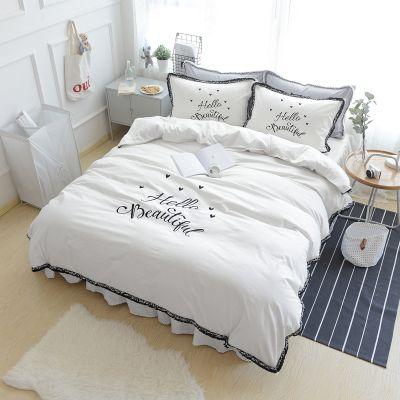 solido del cotone bianco breve morden biancheria da letto a casa 4pcs set CIAO copertura di disegno della regina re piumone bedskiert set Casa dolce volant