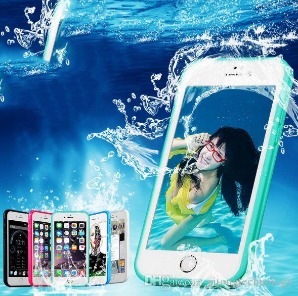 Waterproof Phone Cases For iPhone 7 6 6s Plus 5 5S Ultra Thin Shockproof Hybrid Rubber Soft Silicon TPU Touch Case Back Cover