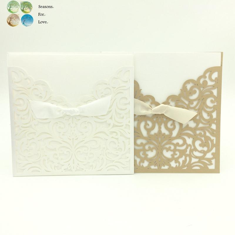 Wholesale Wedding Invitations Engagement Invitation Cards Party Decoration Supplies Favors Gift For Guests Laser Vine Seals Ribbon Greetings For Cards