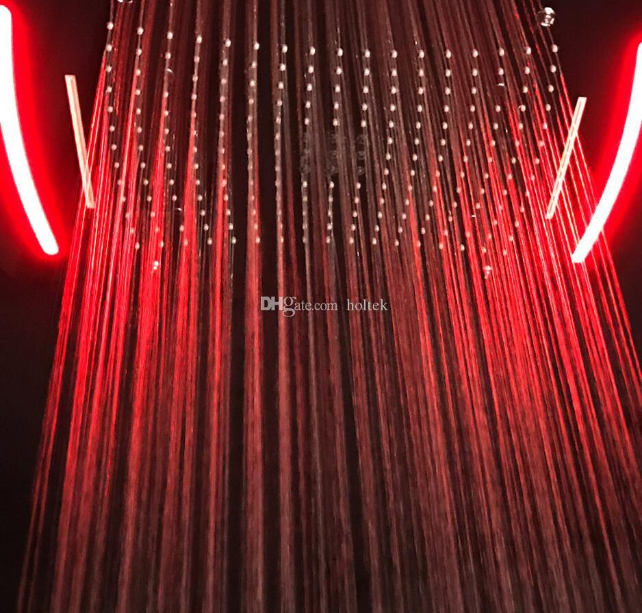 4 Function Concealed Shower head Electronic LED Color Changing Shower Head Faucets Rain Shower Water Fall Curtain Spray bathroom
