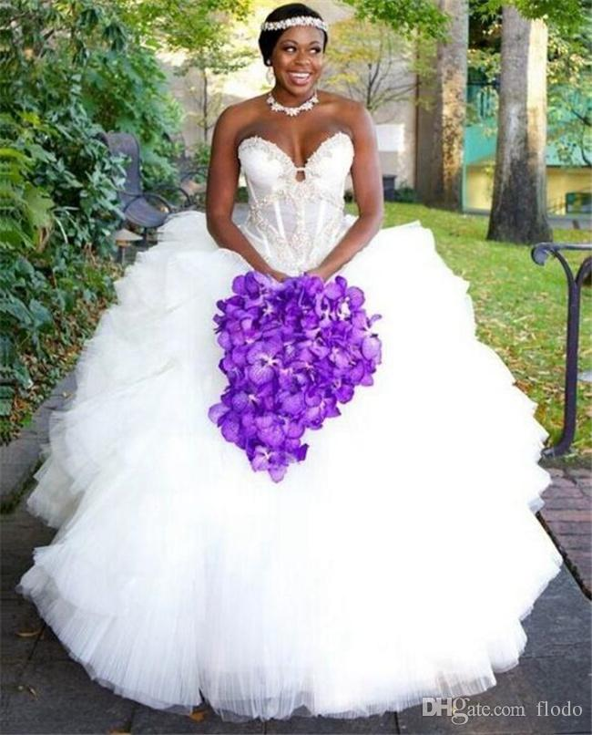 Stunning Beaded Applique Illusion Plus Size Ball Gown African ...