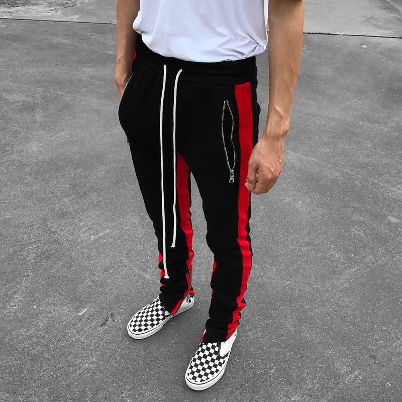 release date 100% high quality marketable 2019 New Black Red Green Colour FOG Justin Bieber Style Sweatpants Men  Hiphop Slim Fit Double Striped Track Pants Crawler Leg Zip Vintage Joggers  From ...