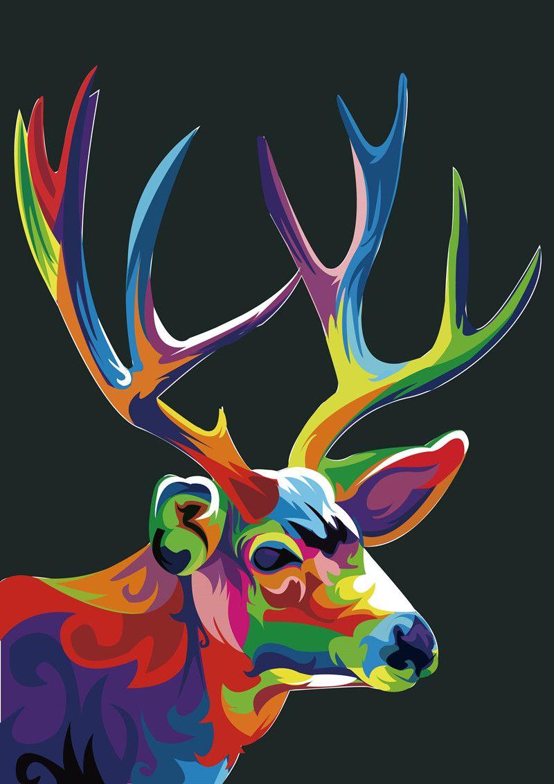 Ev Ofis Dekorasyon Oturma Odası Sanat Duvar Dekor HD Baskılar Hayvan Renk Geyik Kral Yağlıboya Resim Tuval Üzerine Basılmış