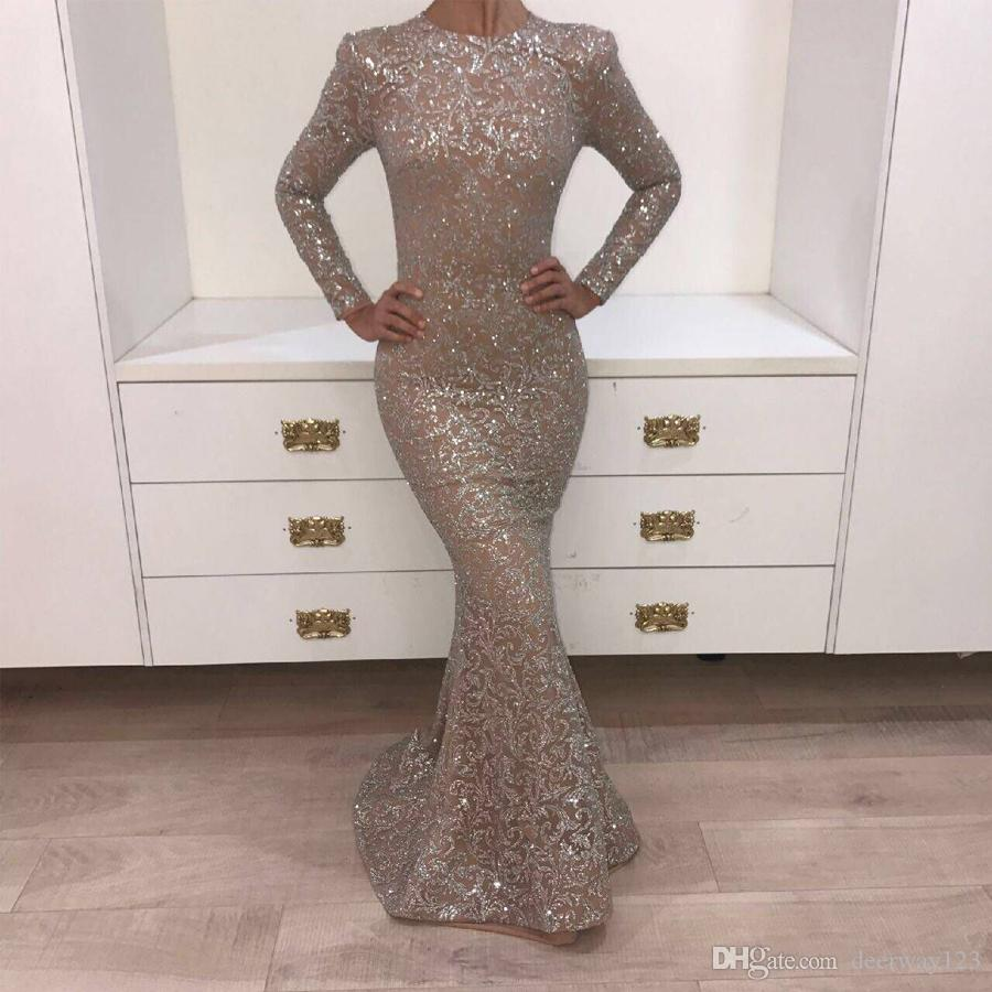 Echte Bilder 2019 Kristall Abendkleider Dunkler Champagner Oansatz Prom Kleider Langarm Glänzendem Sliver Yousef Aljasmi Mermaid Party Kleider