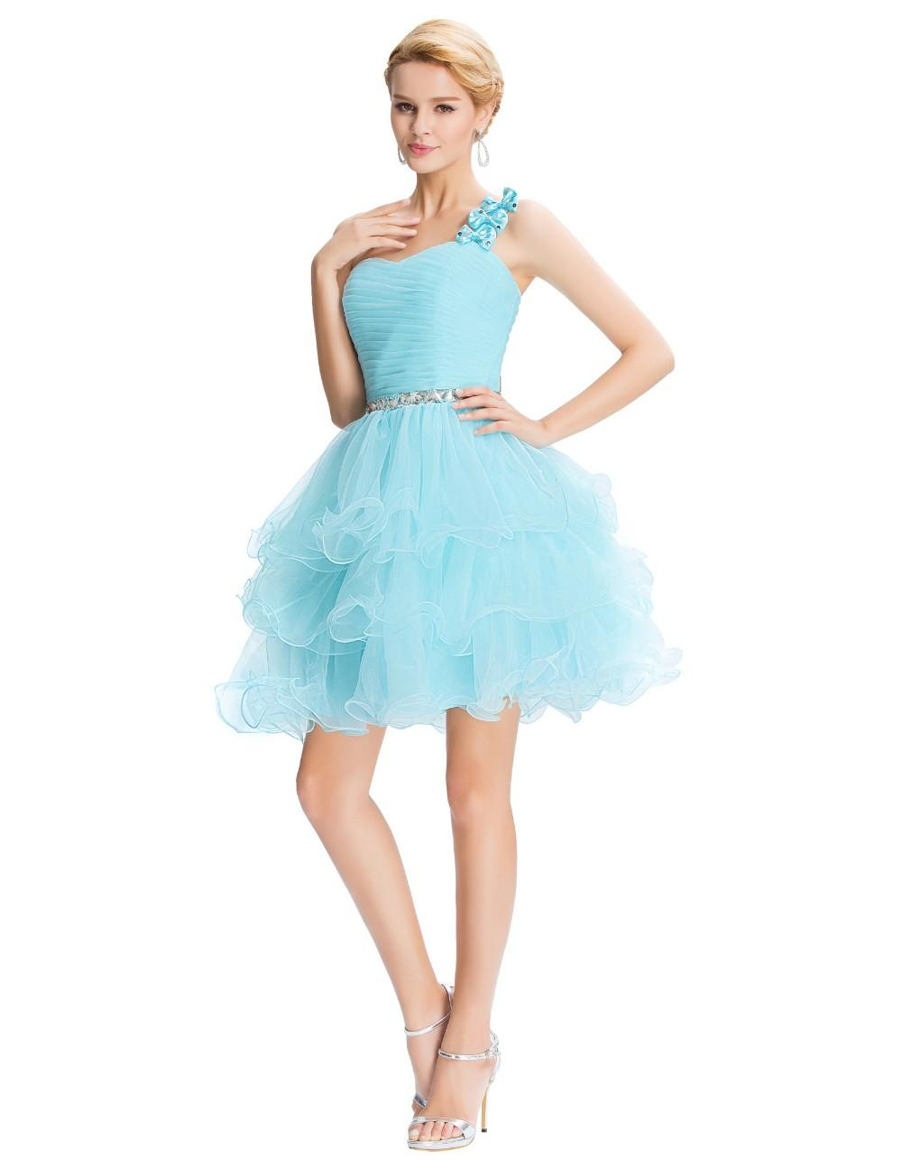 Bows Eleagnt Short Dress Party Gown Cheap Lace Up Back Tiered Skirt ...