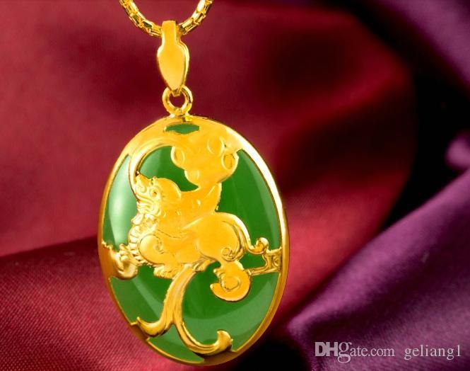 Золото инкрустированные нефрит зеленый овальный мифический диких животных очарование ожерелье кулон (Максим.)