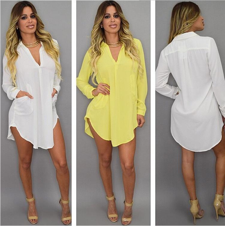 Verão Sexy V pescoço curto Beach Dress Chiffon Branco Mini soltas Casual T Shirt Vestido Plus Size Moda Feminina