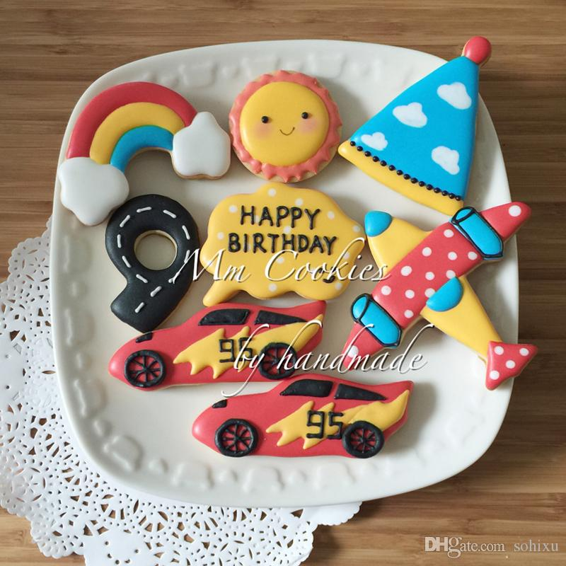 6pcs Car Racing Kitchen Accessories patisserie reposteria Moldes Metal Cookie Cutters Fondant Cake Decorating Tools Baby Hundred Days Baking