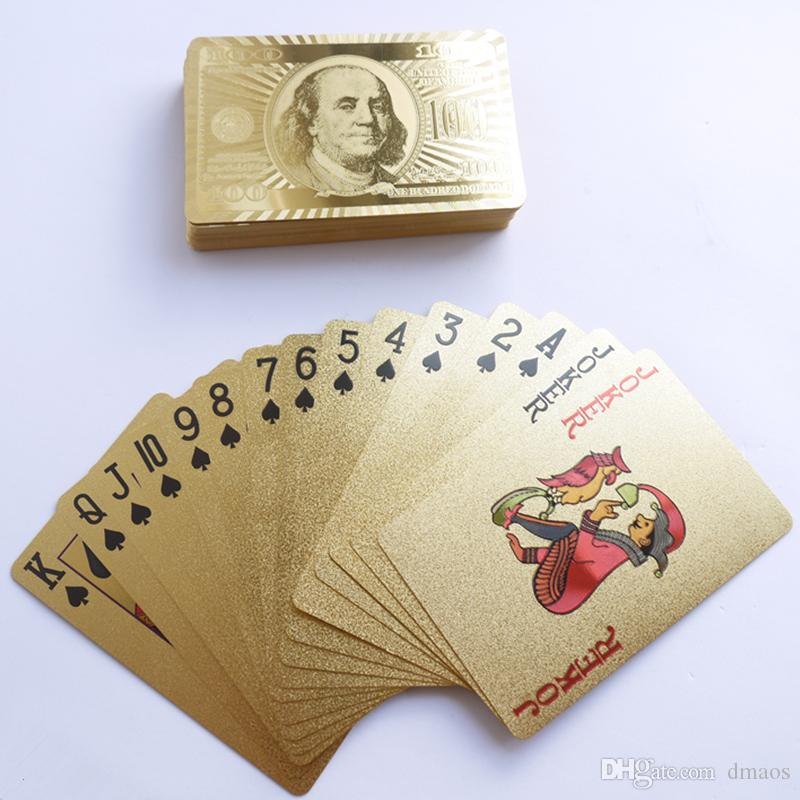 Poker 24K Altın Oynama Kartları Joker Oyunları Kral Büyük İki Tablo Parti Oyun Folyo levha Büro Oyuncak