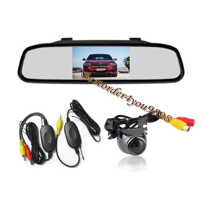 "170° Wide Angle Waterproof Metal Car Wireless Reversing Camera + 4.3"" LCD Car Rear View Mirror Monitor Kit Free Shipping"