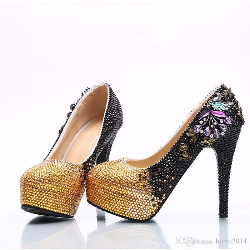 Gradiente preto Ramp Mulheres Bombas de Strass Nupcial Sapatos de Festa de Casamento Phoenix Mãe da Noiva Sapatos Annversary Cerimônia Salto Alto