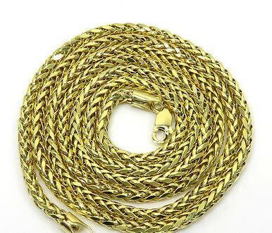 """26 """"Inch 7 grammi 2.5mm 10k Yellow Gold Spiga catena di grano Collana da uomo"""