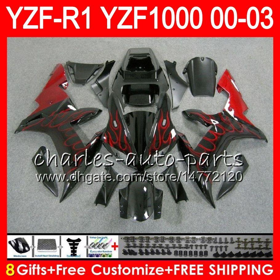 8GIFT 23COLOR LICHAAM VOOR YAMAHA YZF1000 YZFR1 02 03 00 01 YZF-R1000 ROOD BLACK 62HM5 YZF 1000 R 1 YZF-R1 YZF R1 2002 2003 2000 2001 Kuip