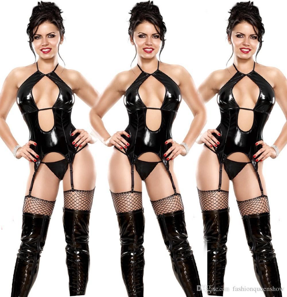 Sexy Black Leather Halter Faux Teddy Womoen torace aperto erotica biancheria intima della biancheria Backless della bamboletta giarrettiera Chemise