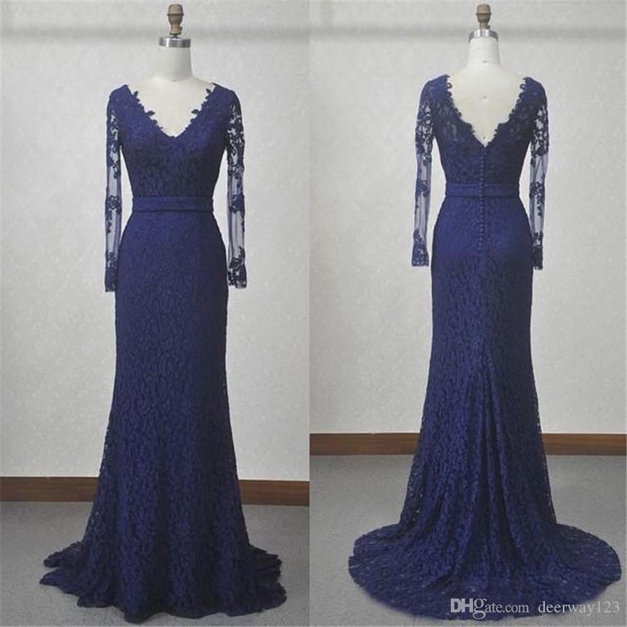 Col en v à manches longues en dentelle sirène bleu marine mère robes de mariée plus la taille réelle mère de la mariée robe formelle robe formatura longo