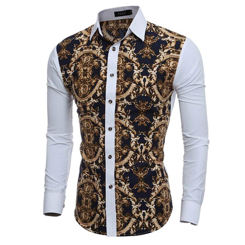Großhandel Große Weinlese-Blumendrucke Mens Dress Shirts Langarm Slim Fit Leger Gesellschaftliche Camisas masculinas für Mann Chemise homme