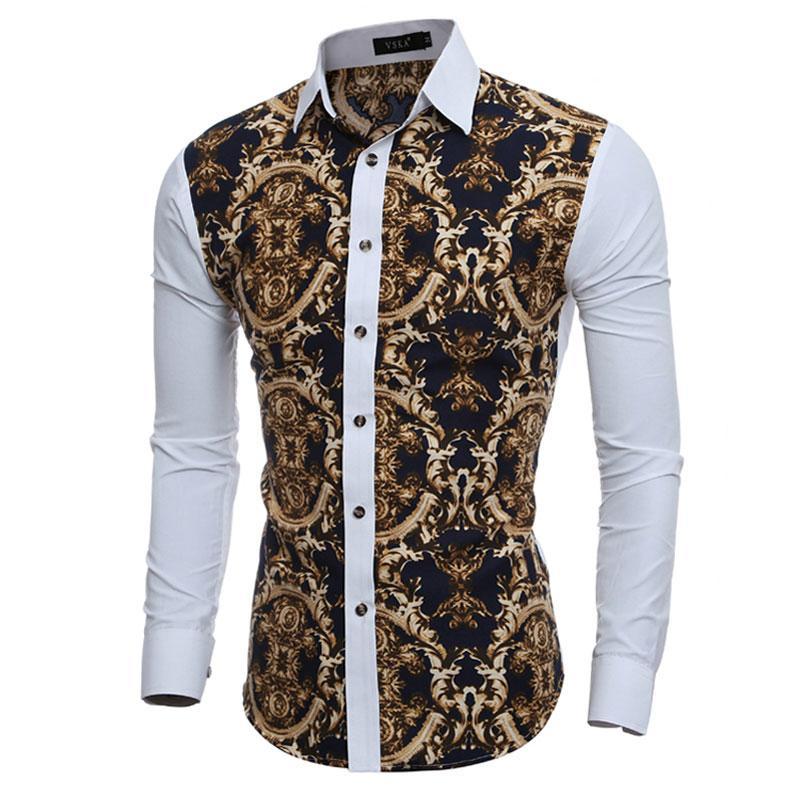 남자 슈 옴므 도매 대형 빈티지 꽃 인쇄 남성 드레스 셔츠 긴 소매 슬림 맞춤 캐주얼 사회 Camisas Masculinas