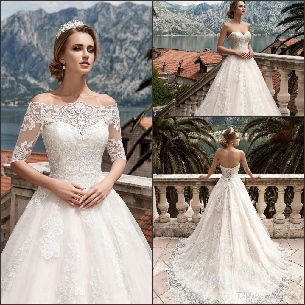 Discount Modest Vestido De Novia 2018 Sweetheart Full Lemgth Wedding Dresses A Line Court Train Lace Up Back Summer Garden Bridal Gowns On Line
