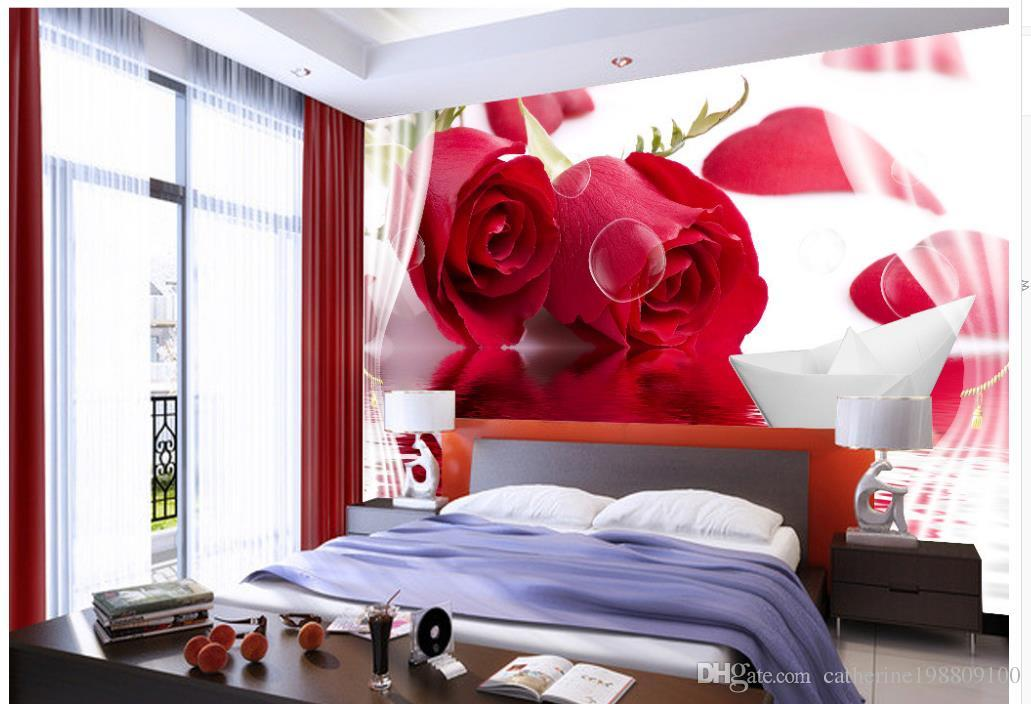 Customized Wallpaper For Walls Beautiful Modern Red Rose Reflection Paper Boat 3d Decorative Painting Background Wall Hd Free Wallpaper Hd Free Wallpapers From Catherine198809100 5 81 Dhgate Com