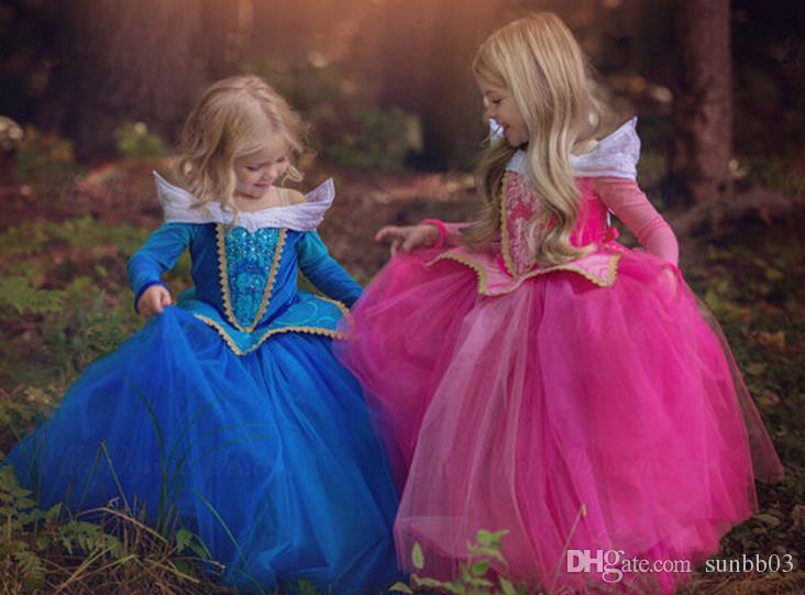 Compre Nuevo Otoño Del Resorte De Europa Muchachas De La Manera Vestido De La Bella Durmiente Aurora Vestido De La Princesa Princesa De Los Niños Los