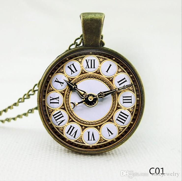 US/UK Flag Clock Pendant Necklaces Charm Chains Time gem glass Statement Vintage Stainless Steel Glass Cabochon Chain jewelry Free Ship DHL