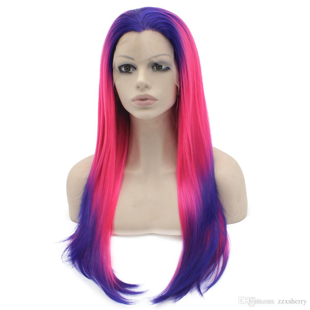 """24"""" Long Ombre Violet Purple Hot Pink Silky Straight Half Hand Tied Heat Resistant Synthetic Fiber Lace Front Fashion Cosplay Wig S02"""