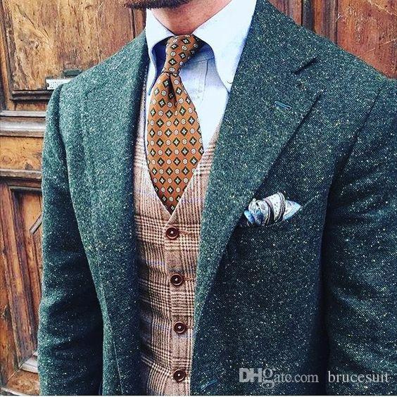 2019 Mens vert Dotted Donegal Tweed Costume Custom Made Brown Hommes Tweed costume simple boutonnage hommes Costume Notch Lapel (veste + pantalon + veste)
