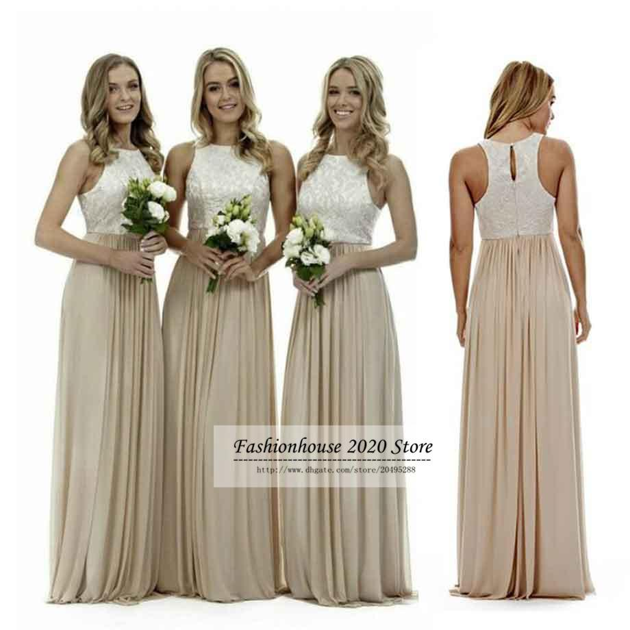 Cheap sexy long champagne chiffon bridesmaid dresses lace beach sexy long champagne chiffon bridesmaid dresses lace beach bridesmaids dress plus size wedding guest gowns country maid of honor dress ombrellifo Gallery