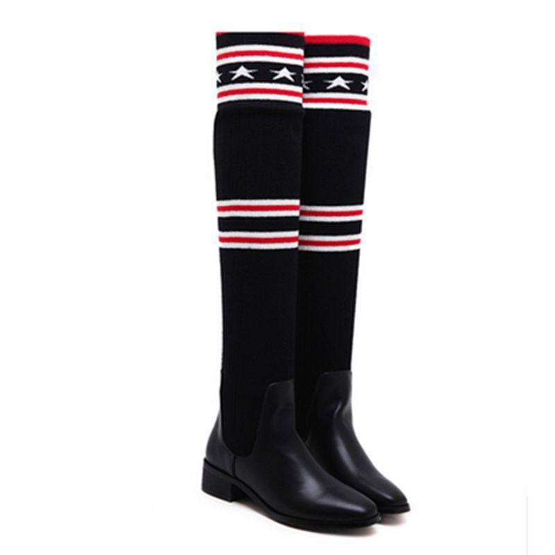 New Fashion Brand Designer Genunie Leather Knee Thigh High Boots Women Shoes 53CM&30CM Star 3.5cm Platform Boot