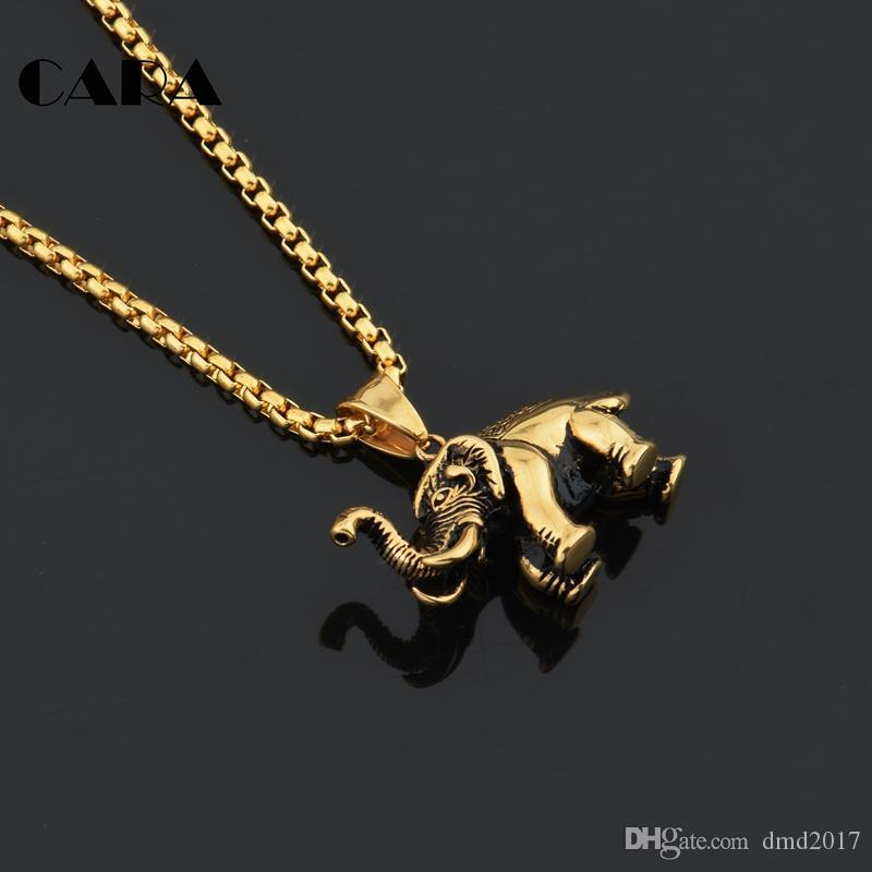 CARA 2017 New arrival Lucky vintage 316L stainless steel solid elephant necklace pendant men's fashion jewelry necklace CAGF0151