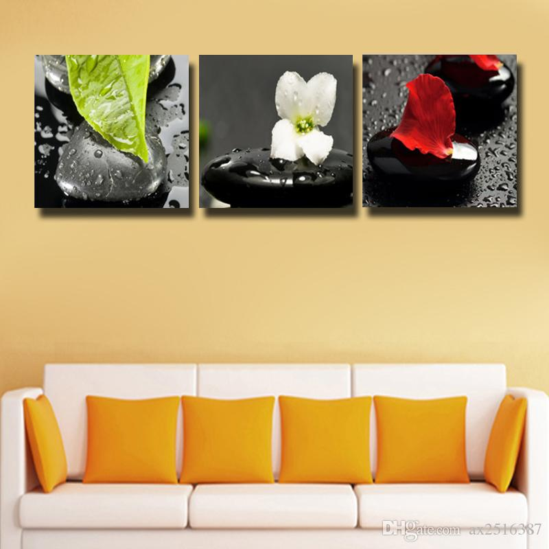 3 Pcs/Set stones and flowers Picture Canvas Print Painting Wall Art For Wall Decor Home Decoration Cheap #135