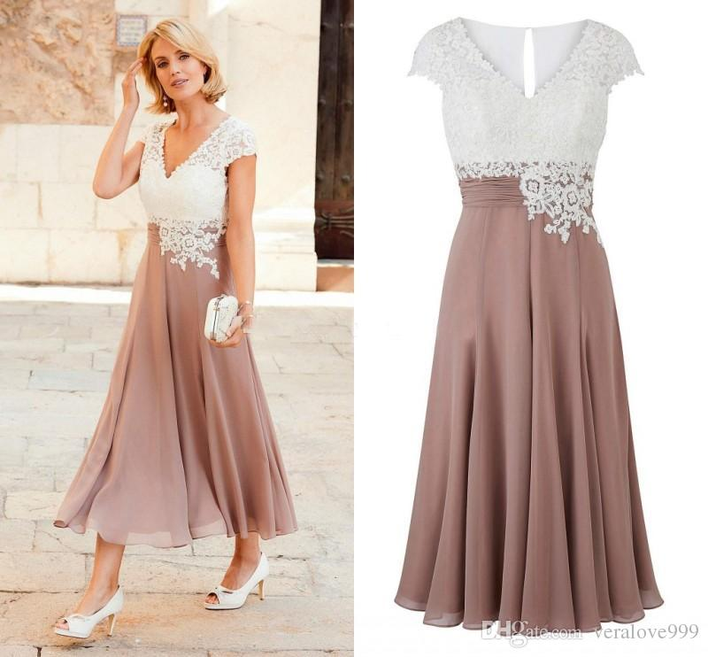 Newest Mother of the Bride Dress Deep V Neck Chiffon Tea Length Wedding Guest Dress Short Sleeves Top Lace Groom Party Gowns