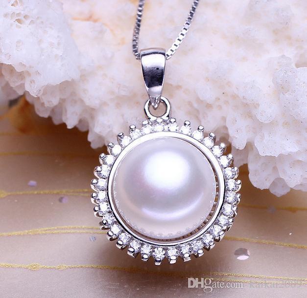 Weibliche Inlay Strass 11-12mm Oblate natürliche Perle Anhänger Halskette DZ0035