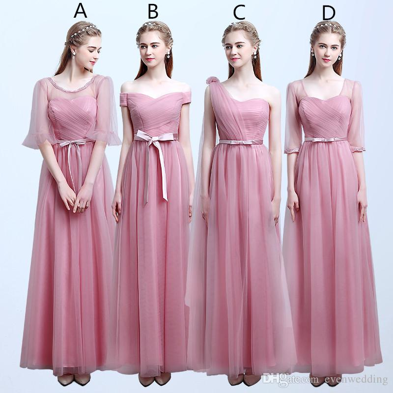 Blush Pink Un vestido de dama de honor de tul 2018long Boda de boda Vestidos de dama de honor Dama de honor