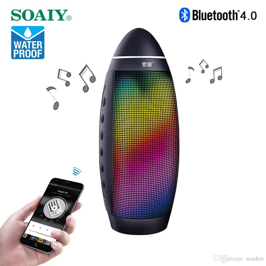 SOAIY S-58 Waterproof Pulse LED Wireless Bluetooth Speaker Multicolor LEDs dance Dustproof Sailing Speaker Hands-free Mic TF card MP3 Player