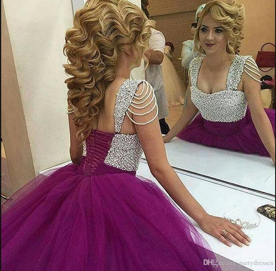 2016 Latest Style Ball Gowns Prom Dresses Purple Pearls Princess ...