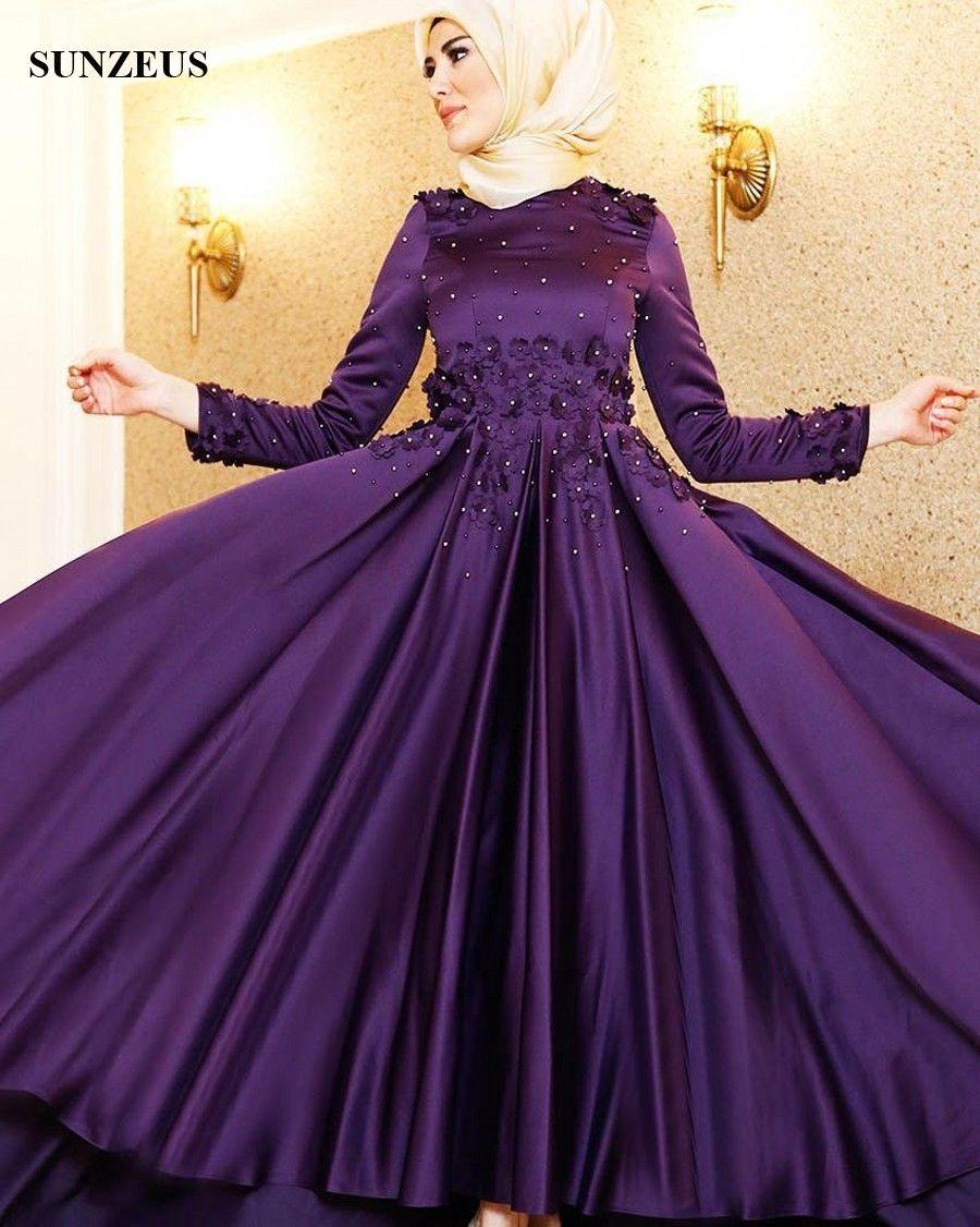 Lange Hülsen-moslemische Abend-Kleider mit Blumen perlt A-Linie Juwel-Ansatz-purpurrote Satin-lange formale Partei-Kleider