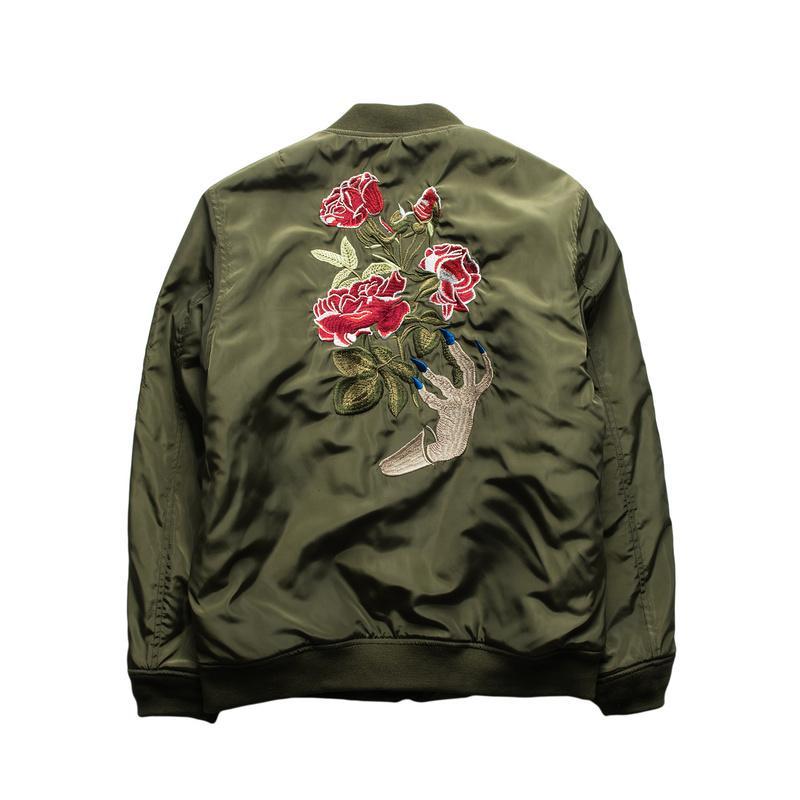 Toptan-2016 kış yeni Bombacı ceket gelgit marka gizli Hayalet el nakış Gül Çiçek kat erkekler Yüksek kalitede termal ceket