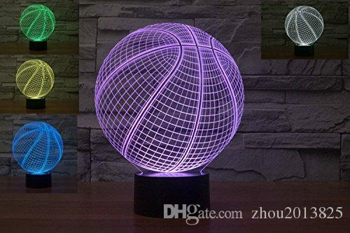 Romantic Basketball 3D LED Night Light 7 Color Change Touch Switch Desk Table Lamp for kids