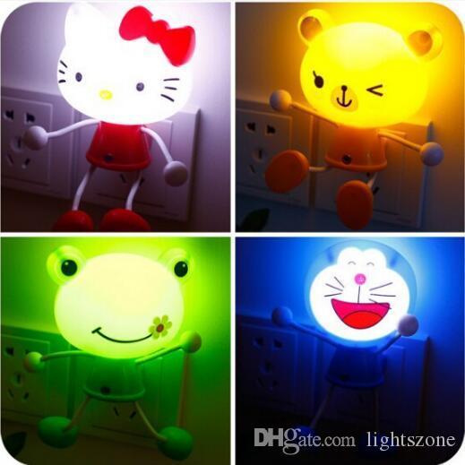 LED Lights Sensor Control Cartoon Baby LED Night Light Children Panda Bear Novelty Lighting Lamp Kids Room LED US Plug