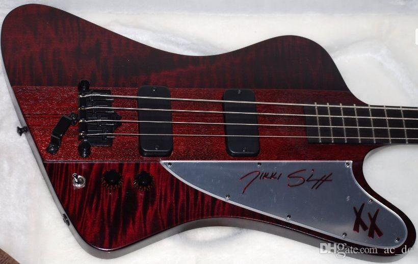 Rare 4 Strings Bass Fire Thunderbird Nikki XX Signature Wine Red Flame Maple Top Electric Bass Guitar EMG Pickups Black Hardware