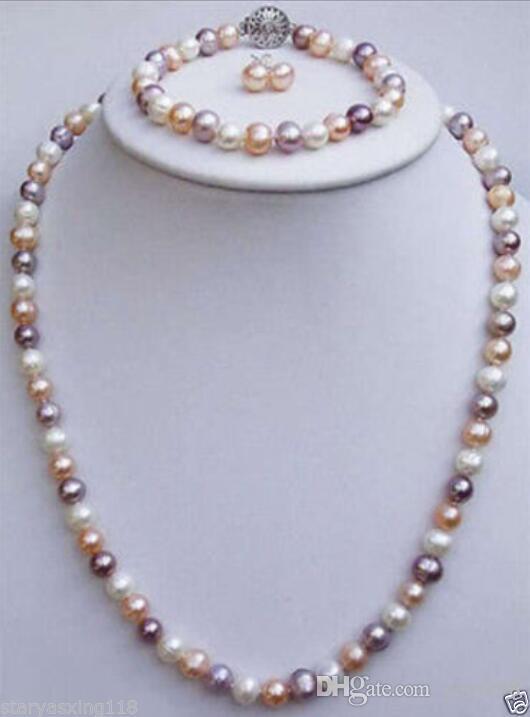 Бесплатная доставка 7-8 мм смешанные цвета пресноводные жемчужные ожерелья браслеты серьги наборы
