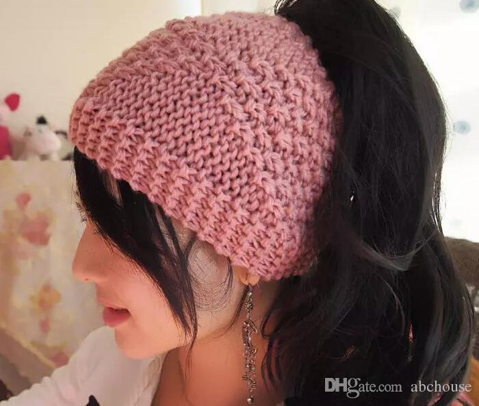 Fashion Ponytail Hat Handmade Messy Bun Hat Crochet Messy Bun Beanie Womens messy bun hat Free DHL