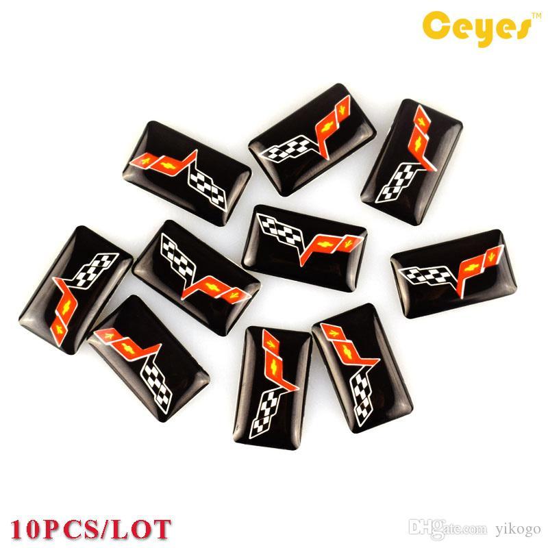 Personalzied الايبوكسي شعار ملصق سيارة الشارات ل كورفيت c5 c6 c7 سيارة مضحك البلاستيك قطرة ملصقات لطيف سيارة التصميم 10 قطعة / الوحدة